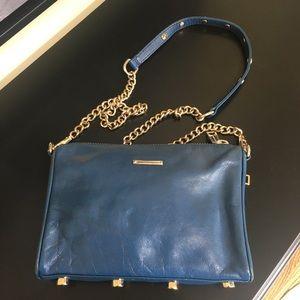Rebecca Minkoff Mini 5 Zip Blue Leather Crossbody